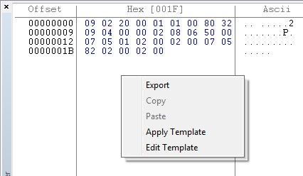 User defined template for decoding data